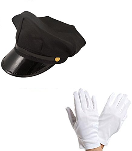 Chauffeur Cap Limo Taxi Driver Hat and White Gloves Fancy Dress Kit by Blue Planet ()