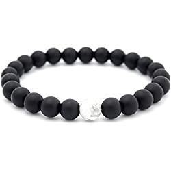 1piece parejas Bracelect piedra Natural 8mm abalorios pulsera, negro (negro)