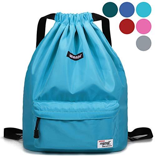 WANDF wasserdichte Rucksack mit Teleskopischem Schulterriemen, für Einkauf und Sport Yoga (Blauer See)
