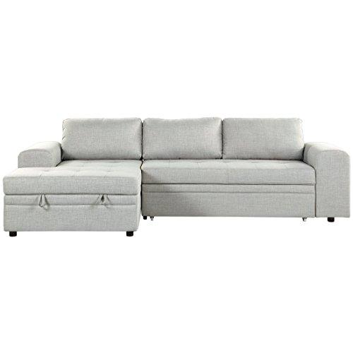 Beliani divano letto angolare imbottito in tessuto grigio chiaro kiruna