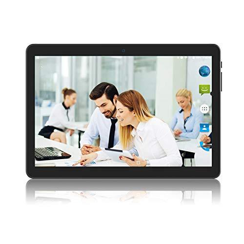 Android 8.1 Oreo Tablet 10 Zoll, 2GB+32GB, 3G entsperrt Phablet mit Zwei SIM-Kartensteckplätzen, 2MP+5MP Dual-Kamera, Quad Core 1,3 GHz, WiFi GPS Bluetooth, Schwarz