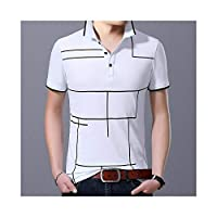 BIDLS Polo Shirt Men's 2020 New Fashion Plaid Top Grade Summer Short Sleeve Slim Fit Cotton Boys Polo shirt Casual Men's Clothing M, L, XL, XXL, XXXL (Color : White, Size : M)