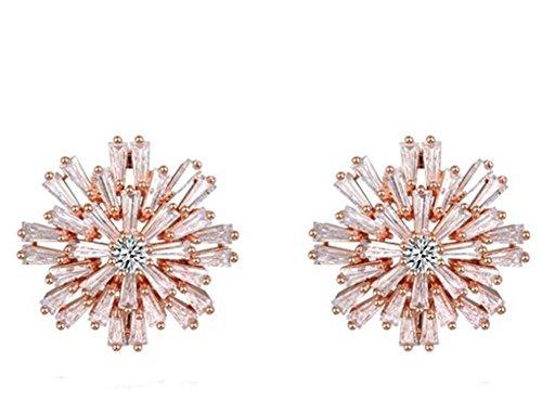 Da donna Con Strass E Cristalli charm placcato in oro 18ct orecchini a forma di fiocco,, 18ct rosa oro, cod. 2030469400b - Strass Strand Orecchini