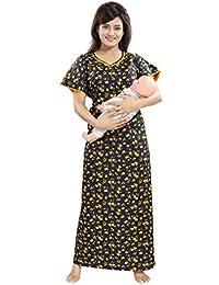 TUCUTE Womens Cotton Fabric Floral Print Feeding Maternity Pregnancy Nighty Night  Gown cef595fcc