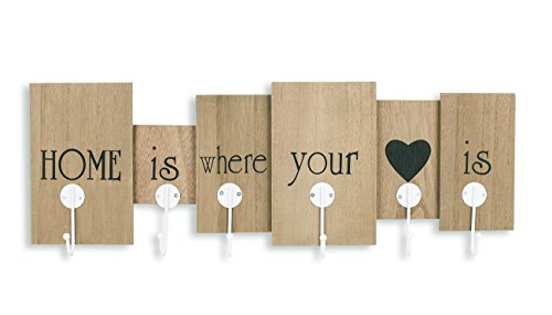 levandeo Wandgarderobe aus Holz mit 6 Haken in braun mit Schriftzug - Home is where your heart is - 60x21x5 - Wanddekoration Dekoration Garderobe Wandhaken Wanddeko