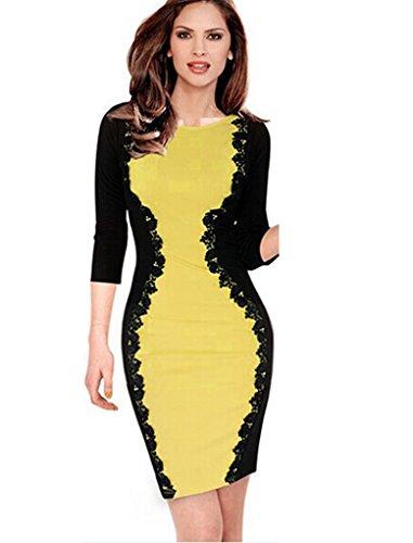 Elite99® - Robe - Taille empire - Femme Noir Noir moyen Yellow with Black