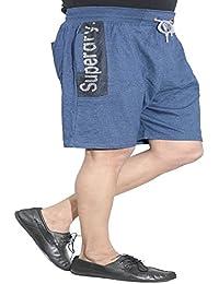 Harvi Mens Cotton Shorts Navy Blue Color Melange Pattern - Workout Gym - Summer Wear