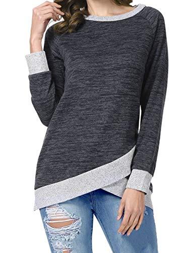 Odosalii Damen Langarm Patchwork Sweatshirt Pullover Casual T-Shirt Asymmetrisch Saum Tunika Tops, Schwarz, M