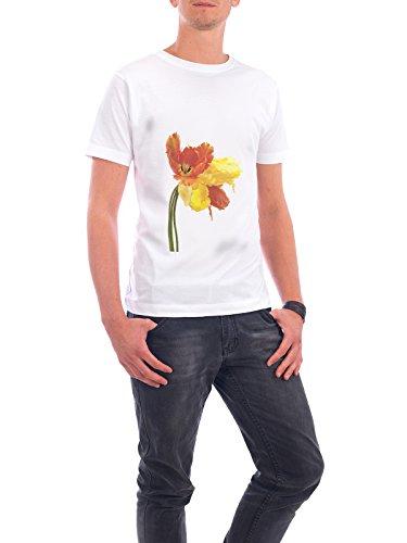 """Design T-Shirt Männer Continental Cotton """"Parrot Tulip"""" - stylisches Shirt Floral Geometrie Natur Essen & Trinken Fashion von Paper Pixel Print Weiß"""
