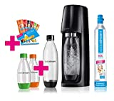 SodaStream Easy Vorteilspack Wassersprudler mit 1 Zylinder, 2 * 1L PET Flasche (BPA FREI!), 2 * 0,5L PET Flasche (BPA FREI!), sowie 6 Sirupproben; Farbe: schwarz