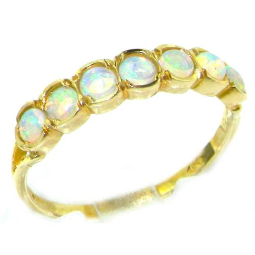 Luxury 9ct Yellow Gold Womens Fiery Opal Vintage Style Eternity Anniversary Ring