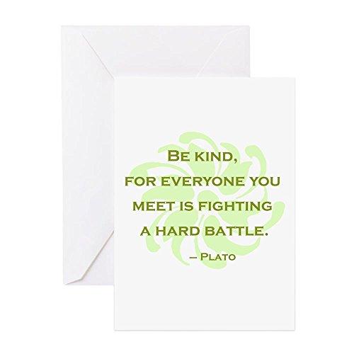 CafePress - Plato Zitat: Be Kind - Grußkarte, Notizkarte, Geburtstagskarte, blanko Innenseite matt (Plato Für Kinder)