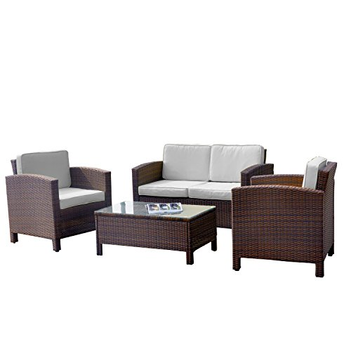 13tlg. Deluxe Lounge Set Gruppe Garnitur Gartenmöbel Loungemöbel Polyrattan Sitzgruppe – handgeflochten – braun-mix von XINRO® - 2