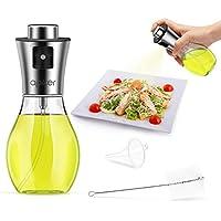 apiker Pulverizador Aceite, Dispensador Aceite Hecho de Cristal Transparente y Acero Inoxidable,Botella de