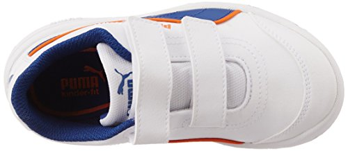 Puma Stepfleex FS SL V Kids Unisex-Kinder Hallenschuhe Weiß (white-sodalite blue-vermillion orange 07)