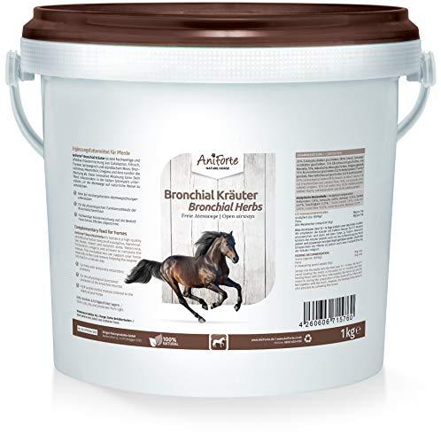 AniForte Bronchial Kräuter für Pferde 1kg - Natürliche Kräutermischung bei Husten, Schnupfen, unterstützend bei Atemwegsbeschwerden, Pferdekräuter als Ergänzungsfutter für freie Atemwege