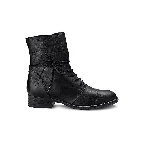 Cox Damen Damen Schnür-Boots aus echtem Leder, Schwarze Freizeit Stiefel mit robuster Laufsohle Schwarz Leder 37