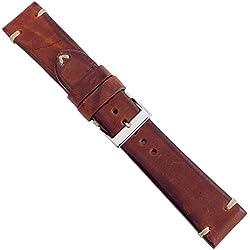 """Uhrbanddealer 24mm Ersatzband Uhrenarmband """"Horse Hand Made"""" Pferdeleder Band Vintage Style Rot - Braun 925524s"""