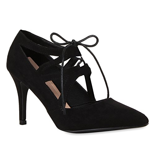 Damen Schnürpumps Cut-Outs Leder-Optik Stilettos Pumps Schuhe 117257 Schwarz 36 Flandell