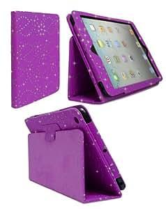 Goldstar Diamond Bling Diamante Glitter PU Leather Flip Case Cover For Apple iPad 4, 3, 2 (Dark Purple)