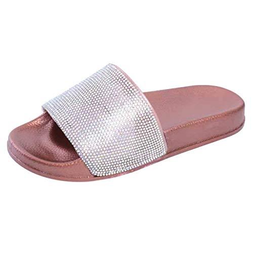 MRULIC Damen Rutschen Sandalen Sparkle Sliders Pailletten Blume Gedrückt Hausschuhe Schuhe Home Flip Flop Slipper(Rosa,40 EU)