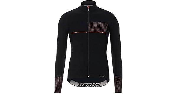 Santini Vega 2 Da Uomo Manica Lunga Ciclismo in jersey-Nero//Arancione