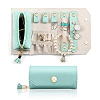 Vlando Travel Jewellery Organizer Roll Bag, Mini Portable Size & Light Weight Daily Jewellries Storage Case for Rings, Earrings, Necklaces, Lipstick(Green)