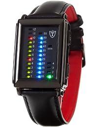 Detomaso Spacy Timeline 1 - Reloj de cuarzo para hombres, con correa de cuero de color negro, esfera negra