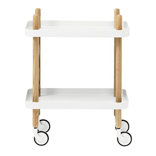 Normann Block - Table d'appoint/desserte, blanc structure frêne