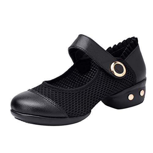 Damen Tanzschuhe Latein Salsa Rumba Tango Balletttanz Ballroom Schuhe Material Leder/Netzoberfläche, Chromledersohle Absatz 4.5cm cm By Vovotrade