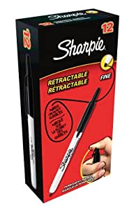 Sharpie Retractable Permanent Marker Fine Tip - Black (Box of 12)
