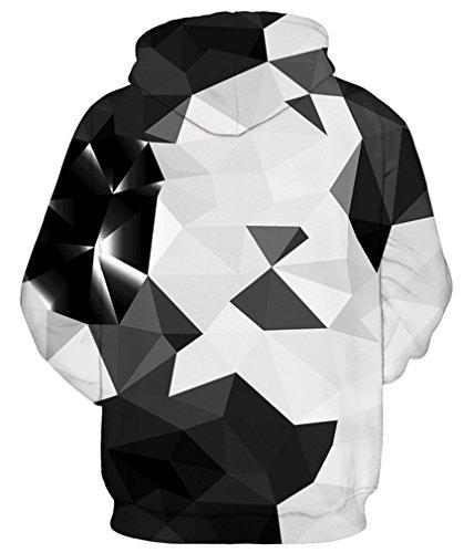 AMOMA Damen digitaldruck Kapuzenpullover Tops Unisex Hoodie Pullover Hooded Sweatshirt Black White Triangle