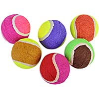 POPETPOP Perro Mascota Masticar Bolas Tenis Divertido Mascota Cachorro Gatito Juguete Bolas 6pcs (Color al Azar)