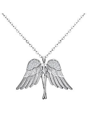 EVER FAITH® Damen 925 Sterling Silber CZ Tänze Guardian Engel Pendant Halskette Kette klar