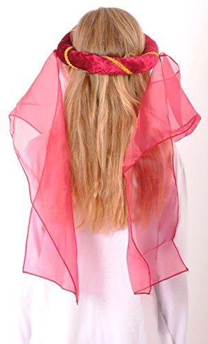 Mittelalter Haarband Helena für Mädchen Burgunderrot Gold - 4