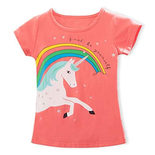 TTYAOVO Camiseta de Algodón Unicornio para Niñas, Camiseta de Manga Corta para Niños Camiseta de Impresión Unicornio Lindo Tamaño 5-6 Años Rosa