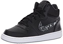 NIKE Boys Court Borough Mid Print Basketball Sneaker, Black/Wolf Grey/White, 5. 5 M US Big Kid