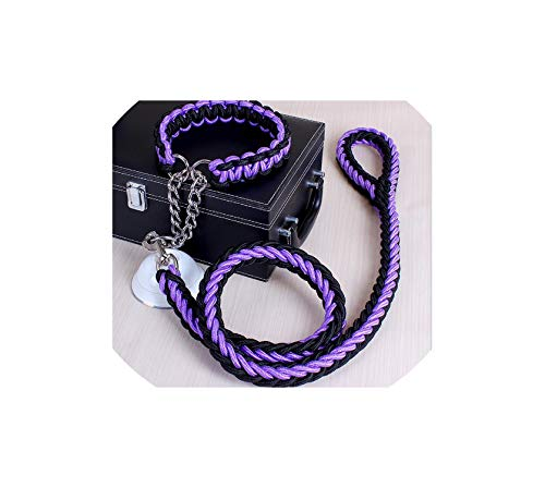 Double Strand Rope Large Dog Leashes Metal Chain Buckle Pet Traction Rope Collar,Black Purple,M 30 to 40 cm (Elite Hundehalsband)