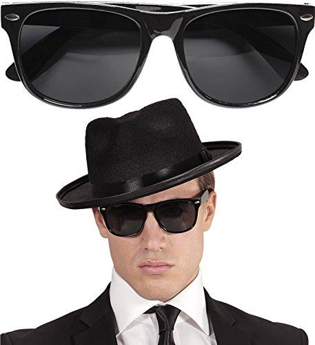 Neu: * Schwarze Sonnenbrille * als Accessoire für Mottoparty | Brille Verkleidung Gangster Blues Brother 20. Jahre Deko Piloten