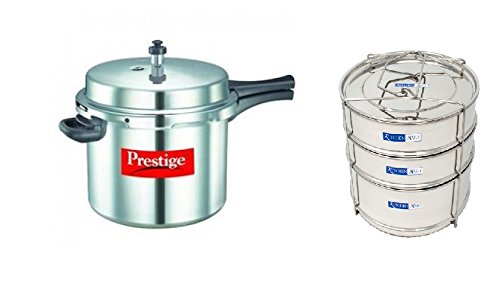 Prestige Popular Aluminium Pressure Cooker, 10 Litres, with Kitchen Mart Cooker Container  available at amazon for Rs.3999