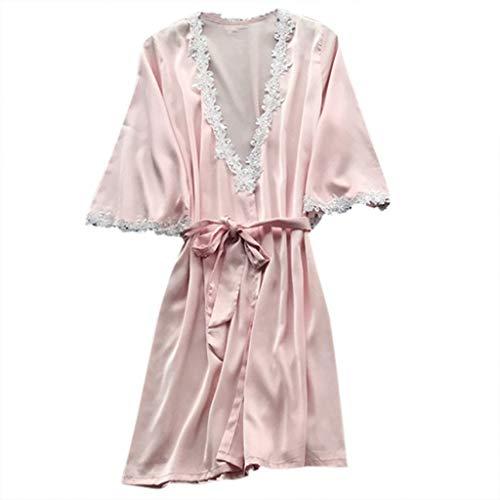 Silk Nachtwäsche Pyjamas Nachthemd Dessous Nachtkleid Babydoll Rückenfrei Zweiteilige Nachthemd Schlafanzüge Negligee Wäsche Set Mädchen niedlich Rückenfrei Schlafanzüge ()