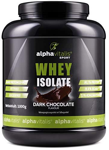 WPI Whey Protein Pulver Isolat Dark Chocolate - H²O-optimiert - 80,1% Protein! - Zuckerfrei - Fettfrei - 1000g WPI ohne Aspartam oder Cyclamat EINWEG - Wpi-whey Protein