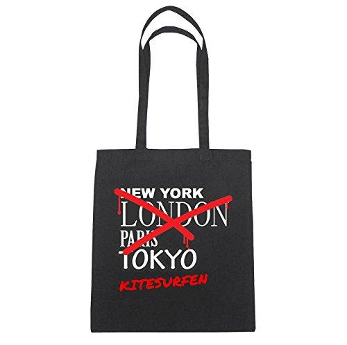 JOllify Kitesurfen Borsa di cotone b6242 schwarz: New York, London, Paris, Tokyo schwarz: Graffiti Streetart New York
