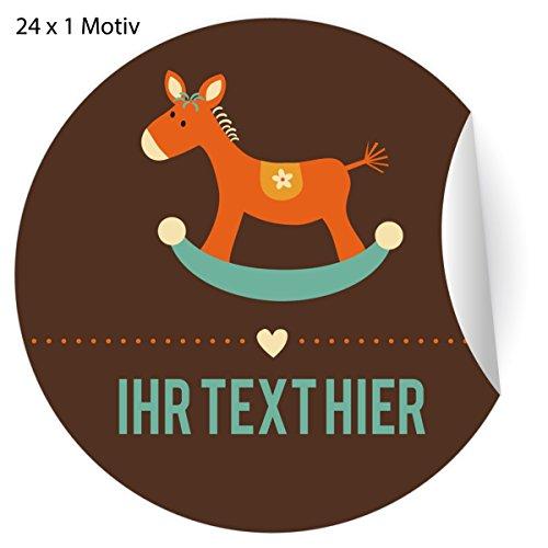 24 Custom Retro Aufkleber mit Schaufelpferd und ihrem Text auch zur Baby Geburt, MATTE Papier Sticker für Geschenke, universal Etiketten für Deko, Pakete (4,5cm)