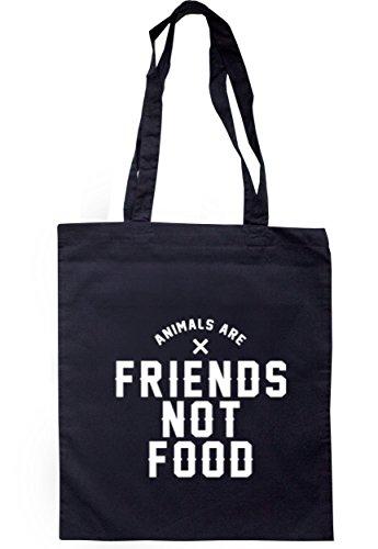 breadandbutterthreads animali sono amici non alimentare Borsa 37,5cm x 42cm con manici lunghi Navy
