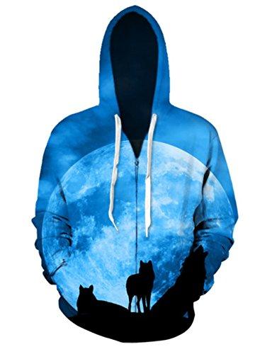 Idgreatim Fashion Coole Hoodies Herbst Winter 3D Wolf Print Kapuzen Sweatshirts Pullover für Frauen Männer L