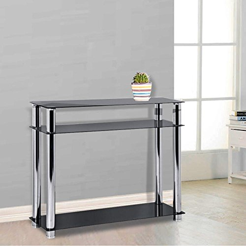 Narrow Foyer Furniture : Chinkyboo tier modern black glass narrow console table