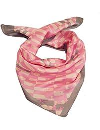 Foulard petit carré 60 x 60 cm - 40% soie rose gris et blanc -