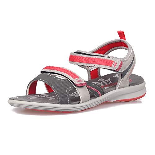 Beach Womens Schuhe (GRITION Damen Wandern Sandalen, Frauen Outdoor Sport Wasser Schuhe Sommer Flach Cross-Tied Beach Wanderschuhe Open Toe Verstellbare Klettverschluss Leichte Walking Wandersandalen (41 EU, Salmon))