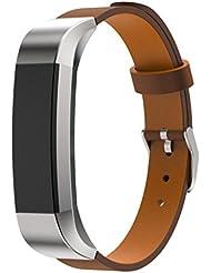 For Fitbit Alta, Ouneed ® Reemplazo de lujo banda de cuero genuino de la correa de pulsera para Fitbit perseguidor Alta (marrón)